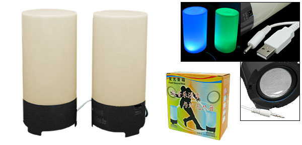 Column Computer Stereo USB Speakers with Colorful Flashing Light