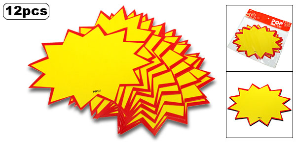 Star Shape Advertising Point Sale Sign Card Yellow