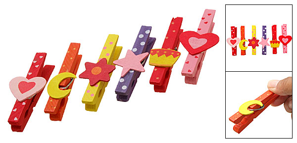 Mini Colorful Cartoon Moon Star Heart Wooden Pegs Clips 6PCS