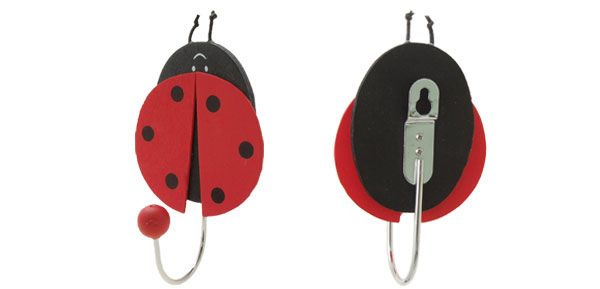 Cartoon Ladybug Ladybird Beetle Mini Wall Hanging Hanger Hook Red and Balck