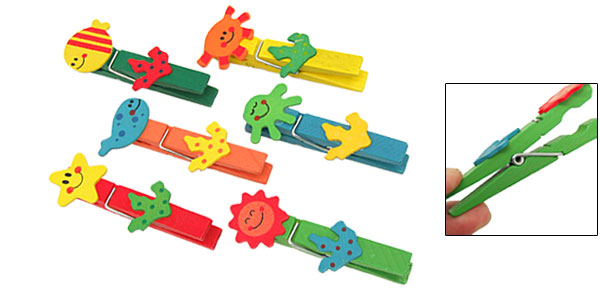 Multicolor Various Mini Cartoon Wooden Clip Clamp 6PCS