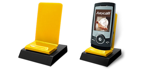 Plastic Holder Stand for Mobiel Cell Phone MP3 iPhone Yellow and Black