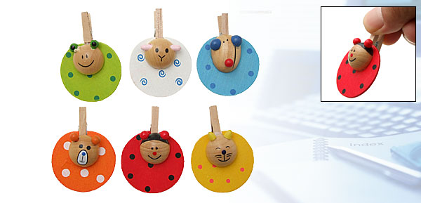 Mini Round Colorful Wooden Cartoon Animal Style Clip