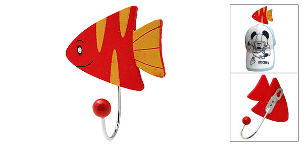 Unique Cartoon Fish Mini Wall Hanging Wooden Hook Hnager Red and Yellow