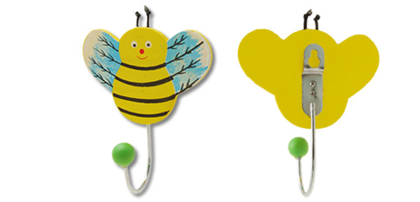 Mini Yellow Cartoon Flying Bee Wooden Wall Hanging Hook