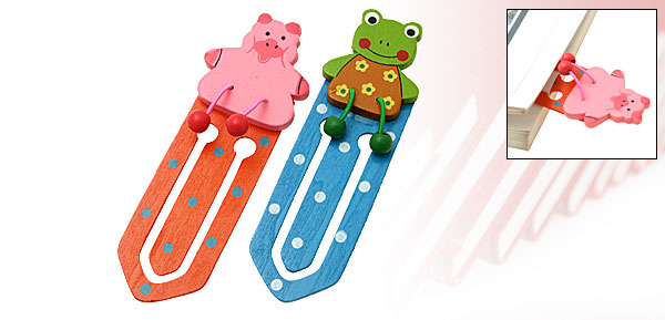 Mini Lovely Cartoon Bear Wooden Bookmark Paper Clip 2PCS