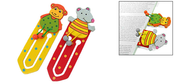 Realistic Couple Cartoon Animal Wooden Paper Clip Bookmark for Readers