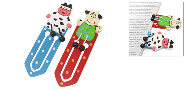 Decorative Mini Slim Cartoon Animal Wooden Bookmark Paper Clip 2PCS