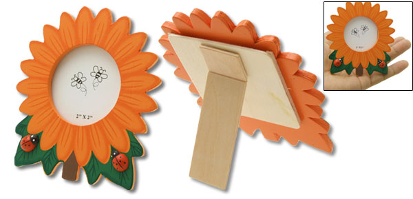 Mini Cartoon Wooden Sunflower Photo Picture Frame Orange