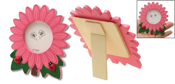 Mini Wooden Sunflower Ladybug Photo Picture Frame Pink