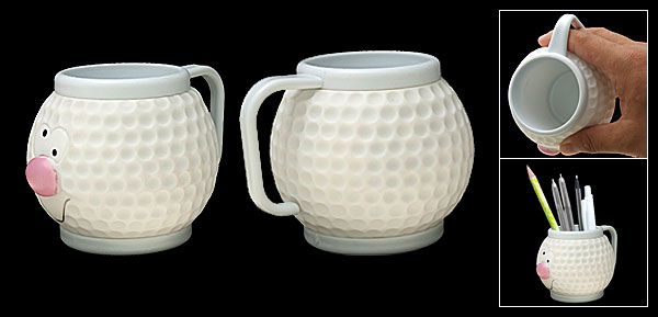 Portable Cute Golf Ball Plastic Mug Cup White