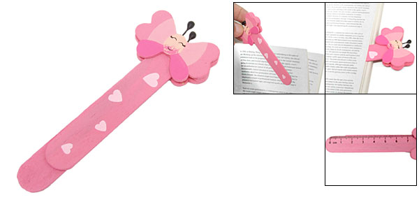 Pink Endearing Cartoon Butterfly Mini Wooden Bookmark Paper Clip Bookmarker