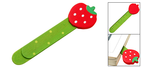 Red Strawberry Embedded Ruler Mini Wooden Paper Clip Bookmark