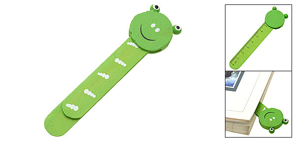 Mini Cartoon Frog Wooden Embedded Ruler Paper Clip Bookmark