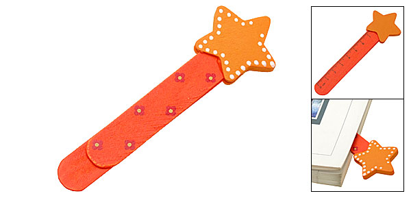 Embedded Ruler Lovely Star Mini Wooden Bookmark Paper Clip