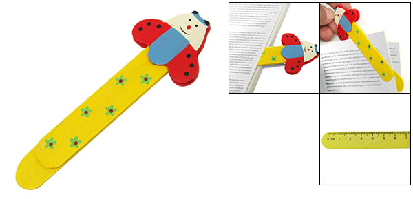 Mini Cartoon Multifunction Wooden Bookmark Paper Clip