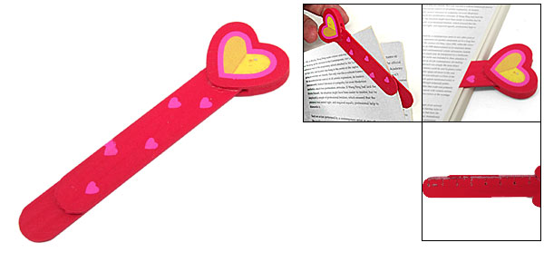 Decorative Red Cute Heart Mini Wooden Bookmark Paper Clip
