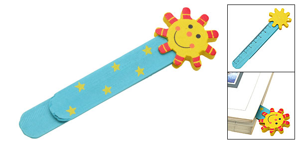 Mini Cartoon Smiling Sun Wooden Bookmark Paper Clip