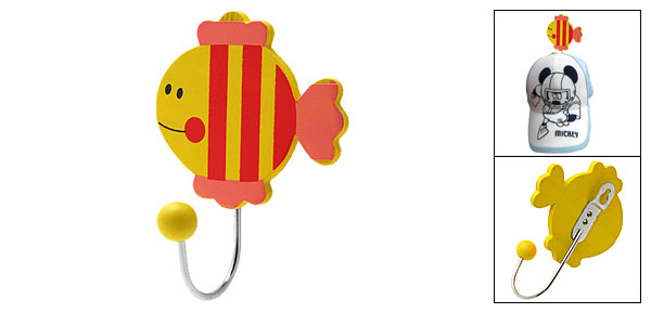 Lovely Cartoon Fish Mini Wooden Decor Hanger Hook Yellow and Red