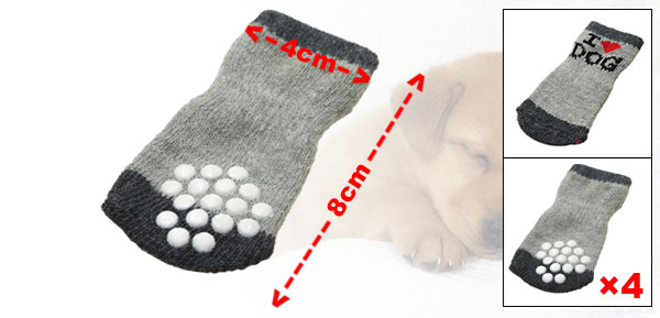 I Love Dog Gray Cotton Anti-slip Puppy Dog Socks
