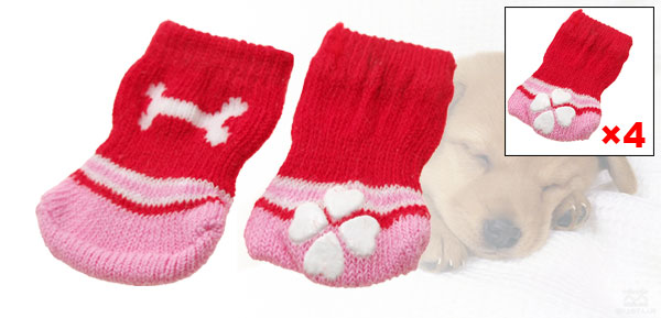 Red Cotton Bone Pattern Anti-slip Puppy Dog Socks (5.7 x 4.4cm)