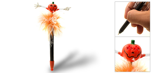 Smiling Red Glowing Halloween Pumpkin Ball Point Pen