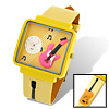Fashion Jewelry Girls Guitar Leather Quartz Watch Yellow
