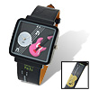Fashion Jewelry Girls Guitar Cartoon Leather Quartz Watch Black