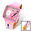 Fashion Jewelry Girls Pink Guitar Cartoon Leather Quartz Watch