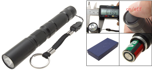Handheld Battery Powered LED Black Aluminum Flashlight Torch