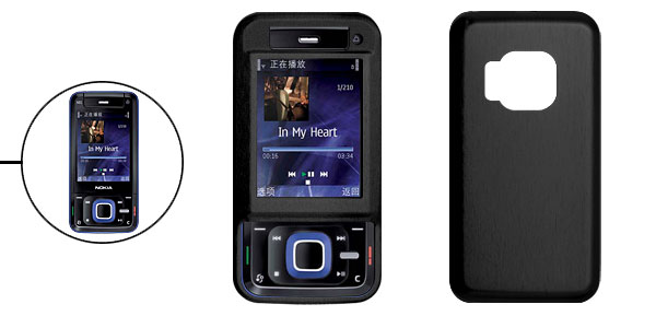 Black Aluminum Hard Case Cover with Screen Visor for Nokia N81
