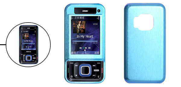 Aluminum Hard Case Cover Blue with Screen Visor for Nokia N81