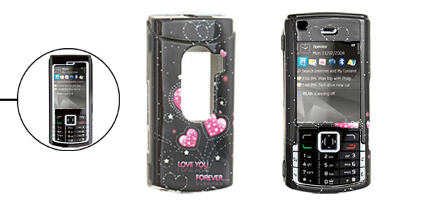 Black Hard Plastic Case with Pink Heart Pattern for Nokia N72