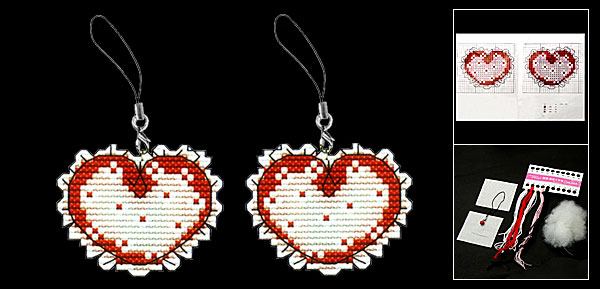 Heart Counted Cross Stitch Cross-Stitch Phone Strap Kit
