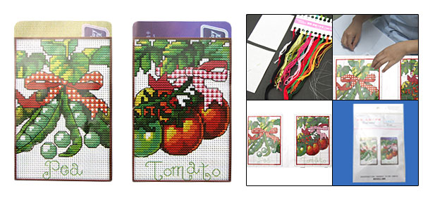 Small Tomato Pea Pattern Counted Cross Stitch Cross-Stitch Kit