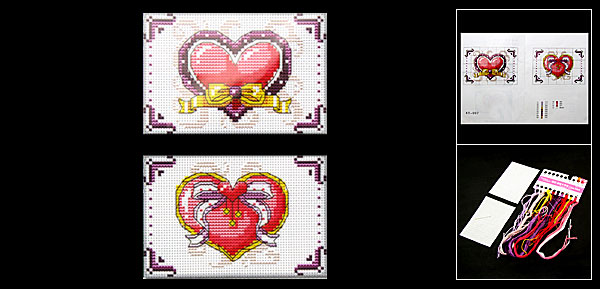 Bowknot Heart Card Holder Counted Cross Stitch Cross-Stitch Kit