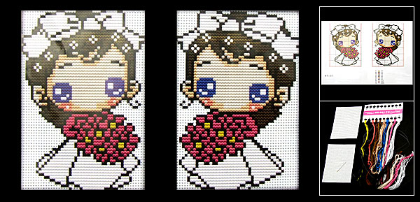 Girl Pattern Counted Cross Stitch Cross-Stitch Card Holder Kit
