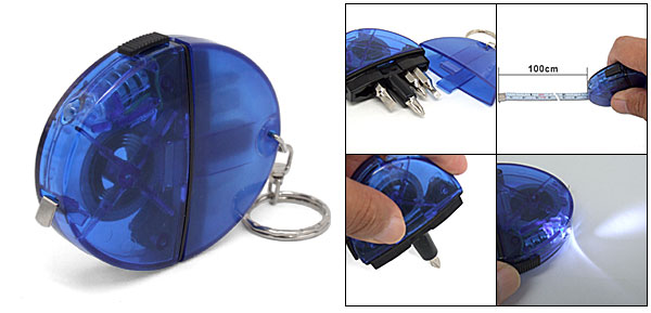 Blue Pocket Measuring Tape Key Chain w/ Screwdriver Bits LED Light