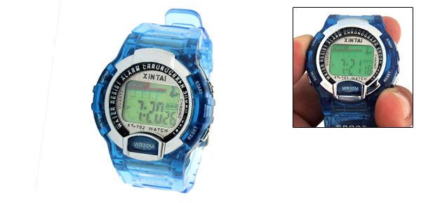 Blue Children's Sports LCD Digital Alarm Wrist Watch