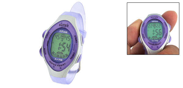 Children Electronic LCD Digital Sports Alarm Wrist Watch Purple