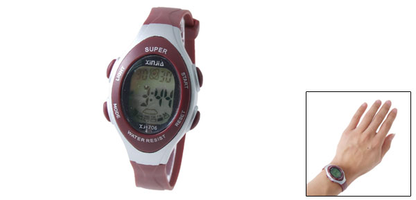 Fashion Red Kids LCD Digital Alarm Sports Wrist Watch