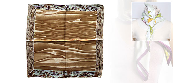 Coffee Waterwave Pattern Silk Bandana Scarf