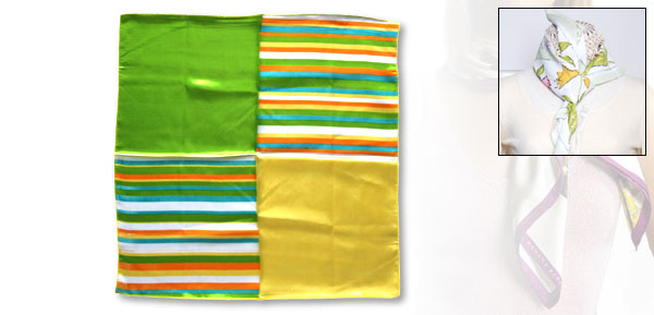 Fashion Rainbow Striped Square Bandana Silk Scarf Kerchief