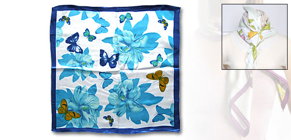 Blue Flowered Bike Bandana Silk Scarf
