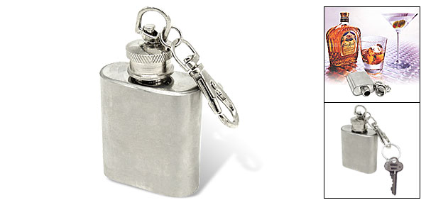 Mini Stainless Steel Wine Bottle Pendant Keychain Key Ring