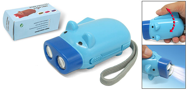Cute Blue Pig Shaped Emergency LED Hand Pressing Flashlight