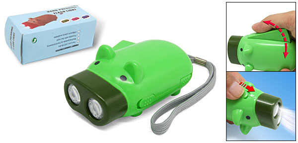 Innovative Green Pig Shaped Emergency LED Hand Pressing Flashlight