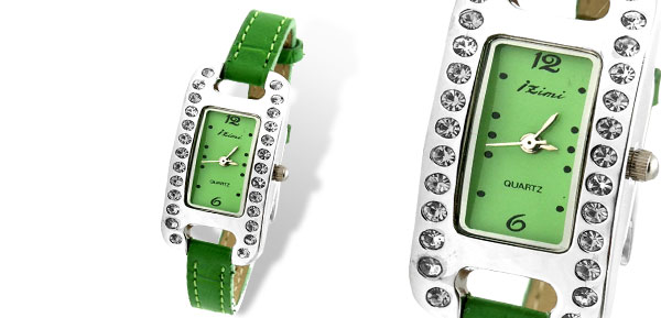 Fashion Women's Green Leather Strap Quartz Wrist Watch