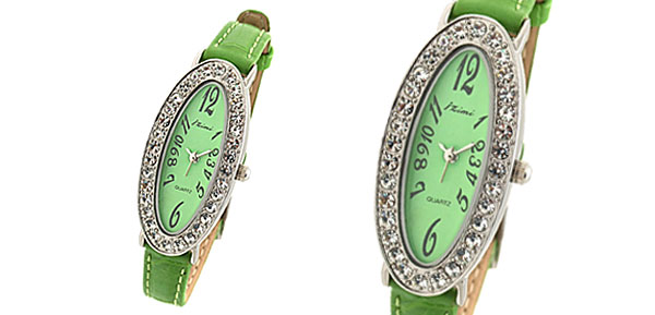 Green Ladies Oval Face Rhinestone Slim Leather Wrist Watch