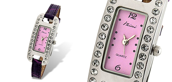 Purple Women's Fashion Leather Strap Quartz Wrist Watch
